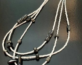 Black and White 3-Stranded Beaded Necklace