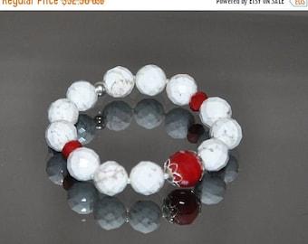 Gemstone Bracelet, White Stone, Red Crystals, Stretch Bracelet, Sterling Silver, Chunky Jewelry, Beaded Bracelet