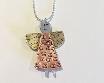 Angel Necklace Love custom necklace Copper aluminum brass copper metal hand cut and stamped