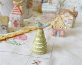 Miniature Pine Tree with Blue Bird, Terrarium or Fairy House Decor