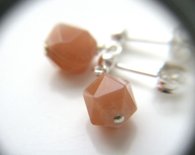 Featured listing image: Peach Moonstone Earrings Studs . Healing Stone for Empowerment NEW