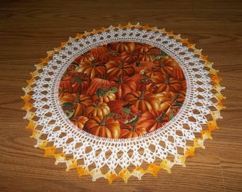 Fall Doily Pumpkins Halloween Thanksgiving Doily Fabric Center Crocheted Edging Table Topper Centerpiece Handmade Fall Doily Gift Home Decor