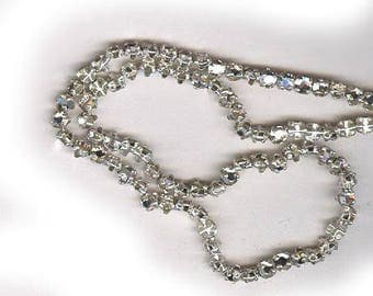 vintage ROSE MONTEES fifty 3mm czech haskell era montees, sew ons, SWAROVSKI crystal clear, prong set faceted crystals