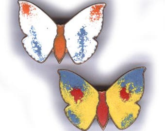 vintage ENAMEL BUTTERFLY brooch or pin from JAPAN two enamel butterfly brooch pins scatter pins two pieces