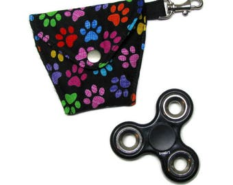 FIDGET SPINNER/EARBUDS case, Lined, padded, snap closure, lanyard hook, Pet Paws