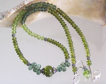 Vesuvianite Necklace, Peridot and Apatite Beaded Choker, Skinny Jewelry, Layering Piece, Earthy Colors, Exquisite Gems