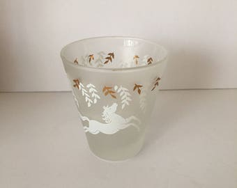 Libbey Cavalcade Horse Mid Century Barware Shot Glass Gold White Frosted Tapered Low Ball Whiskey