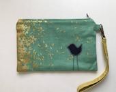 Five Pocket Womens Bird Wallet Clutch, keychain wallet, clutch purse, clutch wallet, cotton and steel, canvas linen wristlet