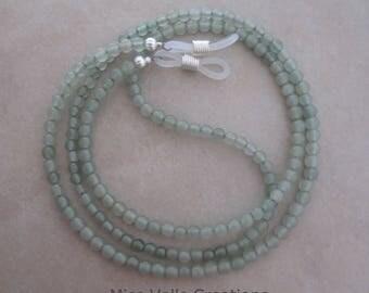 green aventurine eyeglass chain holder silver ends