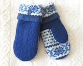 Royal Blue Snowflake Mittens, Sweater Wool Mittens in Blue and White, Eco-Friendly Lined Felted Wool Mittens