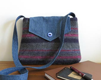 Molly Messenger Bag in Navy and Gray Sweater Wool and Blue Denim, Eco Friendly Upcycled Purse