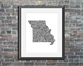 Missouri typography map a...