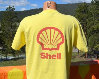 vintage 80s t-shirt SHELL oil gas gasoline blank plain tee Medium Large
