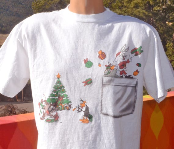 vintage 90s tee CHRISTMAS xmas looney tunes bugs bunny daffy taz santa t-shirt Large cartoon