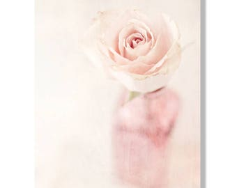 Pink flower photo canvas, shabby chic wall art, roses, flower photography, pale pink flower, still life photography, flower wall art - Bloom
