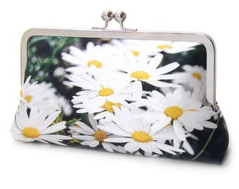 Clutch purse, white daisies, silk bag, white flowers, wedding bag, bridesmaid gift, DAISY