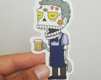Moe Calavera Clear Die-cut Vinyl Sticker Day of the Dead