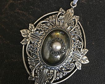 Pendant with Vintage Glass Cabochon