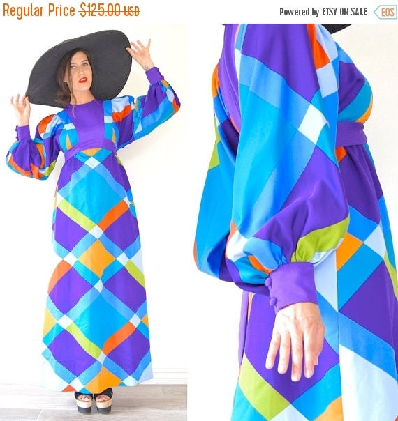 SUMMER SALE / 20% off Vintage 60s 70s Psychedelic Harlequin Checked Poet Sleeve Empire Waist Maxi Dress (size small, medium)