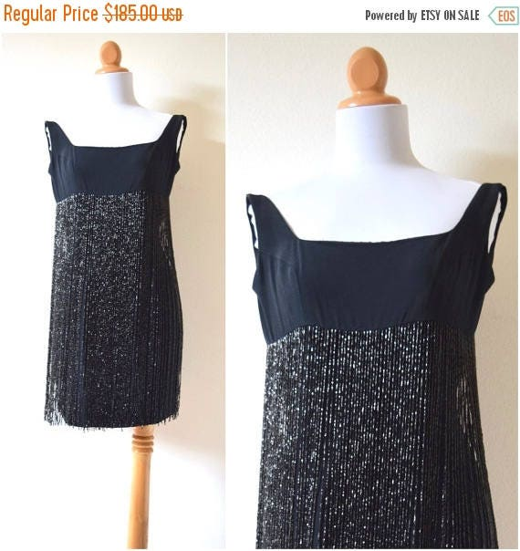SUMMER SALE / 20% off Vintage 90s does 60s Shimmy and a Shake Black Heavily Beaded Long Fringe Mini Dress (size xs, small)