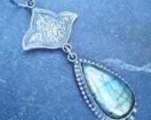 Labradorite Pendant, Lotus Pendant, Oxidized Silver Pendant, Labradorite and Silver, Teardrop Pendant, Green Labradorite, Blue Labradorite,