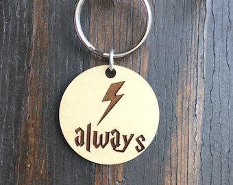 Wizard Always lightning bolt keychain