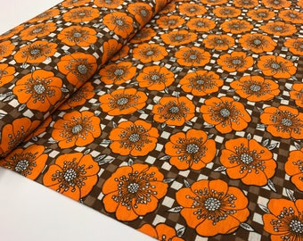 70s Fabric, Orange Floral Vintage Fabric by the Yard, Retro Fabric, Cotton Fabric