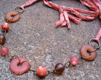 Eco-Friendly Silk Ribbon Statement Necklace - Mellifluous - Recycled Vintage Beads and Sari Silk Ribbon in Coral and Brown