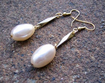 Eco-Friendly Dangle Earrings - Class Act - Recycled Vintage Bevelled Goldtone Metal Beads and Creamy White Large Glass Baroque Pearls