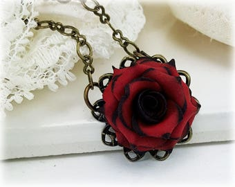 Vintage Style Tipped Rose Necklace - Gothic Necklace, Rose Filigree Necklace