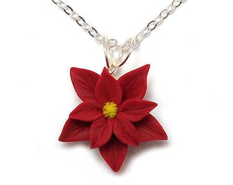 Red Poinsettia Necklace - Poinsettia Jewelry