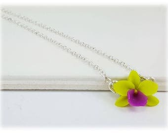 Tiny Orchid Necklace  - Orchid Jewelry, More Colors