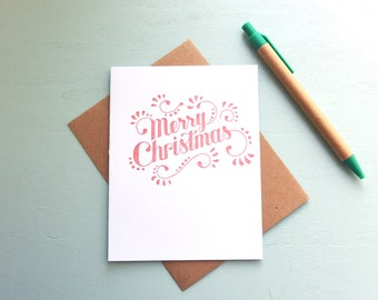 Letterpress Holiday Card - Handlettered Merry Christmas Card - HOL-419