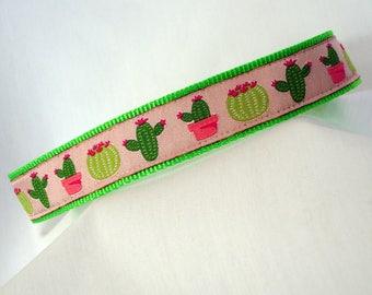 Saguaro Cactus - Medium Dog Collar - 1 Inch Wide - Adjustable Between 11-18 Inches - Pink & Neon Green - Sonoran Desert - READY TO SHIP