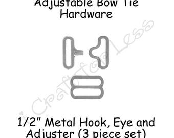 "200 Small Bow Tie Hardware Supplies Clips - 1/2"" Rounded Edge Slide Adjuster*, Hook and Eye - Silver Metal - SEE COUPON"