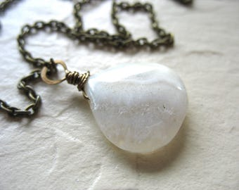 Solar Quartz Necklace, Quartz Gemstone Pendant Chain Strand Necklace , handmade artisan Gemstone Jewelry, Quartz Necklace, Solar Quartz
