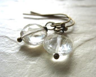 Rutilated Quartz Earrings, Faceted Rutilated Quartz Gemstone Dangle Drop Earrings, Gemstone Jewelry, Dangle Earrings