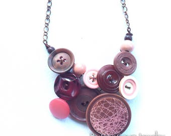 Vintage Button Jewelry Pink and Brown Large Statement Necklace