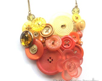 Big Bright Button Statement Necklace in Yellow and Orange