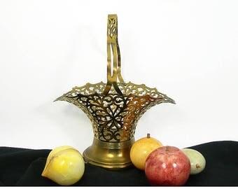 Antique Brass Color Metal Basket with Handle - Pierced Reticulated - Art Nouveau 1920-30 Home Decor - Jungalow Bohemian Style - Fruit Basket