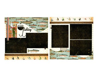 Gone Fishing - 12x12 Premade Scrapbook Page Set