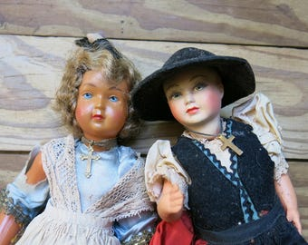 French Antique Celluloid Dolls, Lot of 2 ... Dramatic, Colorful Ladies, French Dolls, France