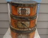 Primitive Halloween stacking pantry boxes, orange and black, rustic distressed, pumpkin labels shabby cottage chic, fall stackable