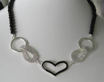 Bridal Jewelry Bridal accessories Bridesmaids Jewelry Wedding Jewelry Heart and rhinestones components with glass beads necklace