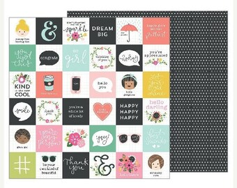 NOW ON SALE American Crafts Pebbles Girl Squad 12x12 Hello Friends Scrapbook Paper, 2 pcs.