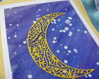 Yellow Moon Cards, Card Set, Blank Cards, Space Cards, Galaxy Cards, Handmade Cards, Moon Goddess