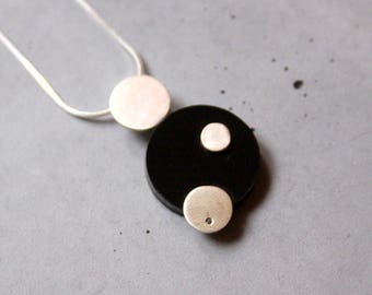 Minimal Style Sterling Silver Necklace with Black Diamond and Black Plexi, Contemporary Jewelry