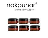 Nakpunar Amber Brown Plastic Jars - Set of 6 (4 oz Low Profile, Black Lid)