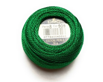 DMC 909 - Very Dark Emerald Green - Perle Cotton Thread Size 8 - Great to sew Felt
