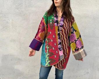 Fabulous reversible plus size cotton kantha quilt kimono